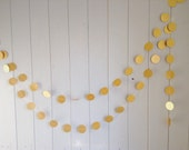 "Gold Garland - Wedding Decoration - Party Decor - Paper Garland - Bridal Shower - Birthday - Christmas - Choose Your Length - 2"" Circles"