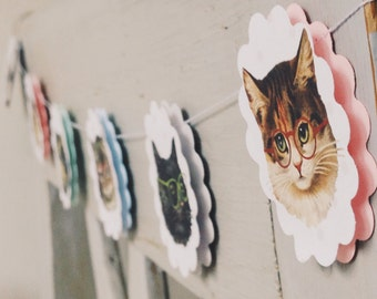 Kitsch Kitties 3D Paper Garland - Cat Garland - Cat Decor - Paper Decoration -  Party Decor - Cat