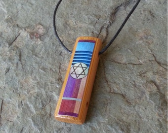 Deco Star of David with Color - Bamboo Pendant Necklace