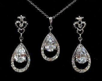 Victorian Wedding Jewelry Set, Cz Bridal Earrings, Cubic Zirconia Teardrop Bridal Necklace, Fleur De Lis Posts, Wedding Necklace, HELENA