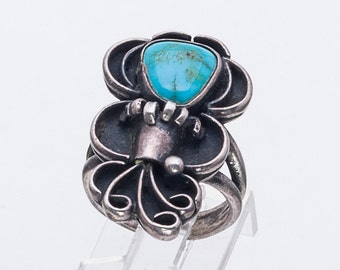 Turquoise Flower Bouquet Ring - Vintage Native American - 70s Navajo - sz 6