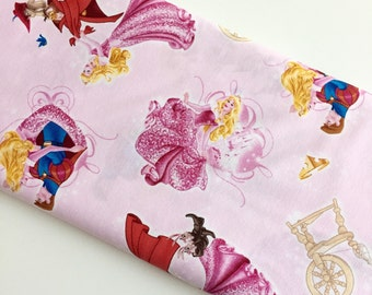 Disney Sleeping Beauty Character Toss Lt Pink cotton woven by the yard