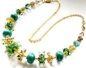 Teal & Green Lampwork Glass Necklace, Artisan Sculptured Glass, Gold Vermeil, Gold Filled, Luxe GIFT For Her, Ready To Ship