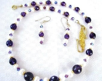 ON SALE, Purple Amethyst Necklace & Earrings with Pearls and Swarovski Crystals on 14k Gold Fill, Luxe Gift For Her, Gift Box, Ready To Ship