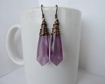 Long Vintage Light Lavender Dagger Earrings