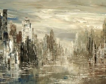 City Painting Skyline Urban Cityscape Waterfront Original Palette Knife handmade black white silver by Tatiana Iliina - Made to order