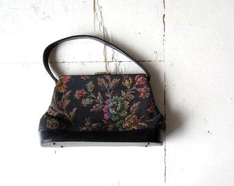 Vintage Tapestry Purse / 1960s Purse / Tapestry Bag / Boho Handbag