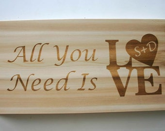 Personalized Cedar Sign Laser Engraved Wood Sign Rustic Wedding Sign Carved Initials Custom Engraved