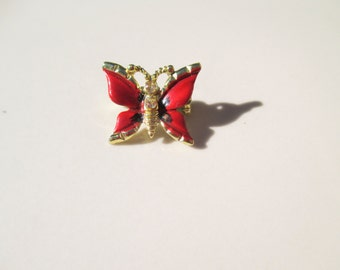 Vintage Red Butterfly Pin Brooch with Rhinestones