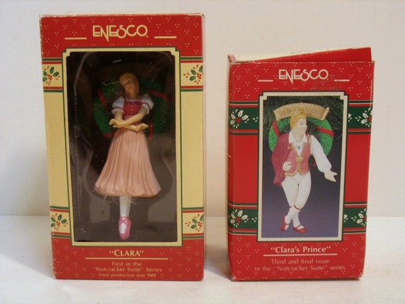 2 Enesco Vintage Christmas Tree Ornaments Nutcracker Suite Clara & Clara's Prince in Boxes NIB