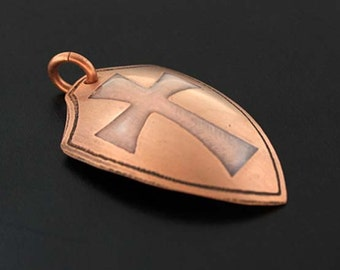 Shield pendant, cross pendant, cross shield, Templar cross, Templar shield, pink cross, metal shield, crucifix pendant, gothic cross, pastel