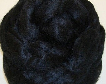 Black/ Dyed Bamboo/ Bamboo/ Needle Felting/ Blending Fiber/ Roving/ Spinning Top/ Alba Ranch/ 1 oz/ Add In Fiber/ How to Spin Yarn/