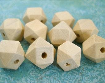 Hexagon Unfinished Wood Beads 20