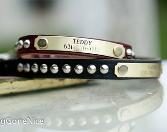 Small Dog Cone Stud Leather Collar, Leather Dog Collar, Studded Leather Collar, Personalized Dog Collar
