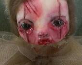 OOAK Dark Creepy Scary Merry Bear 11 Tawny art doll