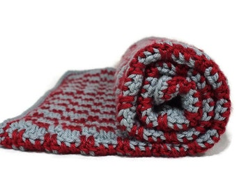 Ohio State Newborn Photo Prop, Crocheted Baby Blanket, Grey and Maroon Blanket