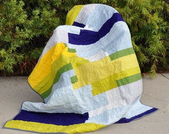 Modern Blue, Green and Yellow Brushstrokes Quilt