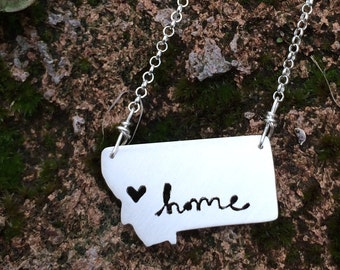 sterling silver montana state home necklace with hand-cut lettering