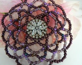 Women beaded kippah in shades of burgundy and purple glass pearls and beads.  Great Bat Mitzvah gift. Comes in a decorated gift box.