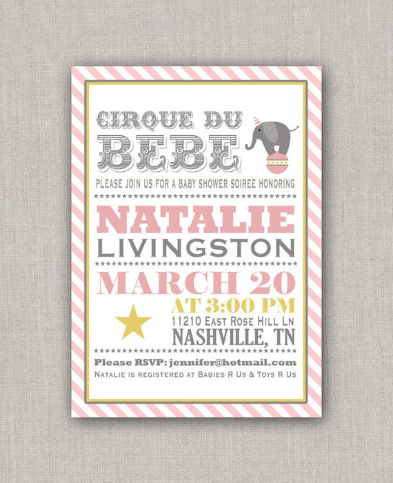 Baby Shower Invitation - Pink Circus