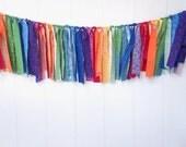 Rainbow Rag Banner, Carnival Banner, Circus Bunting, Rainbow, Fabric Banner, Birthday Decor, Fabric
