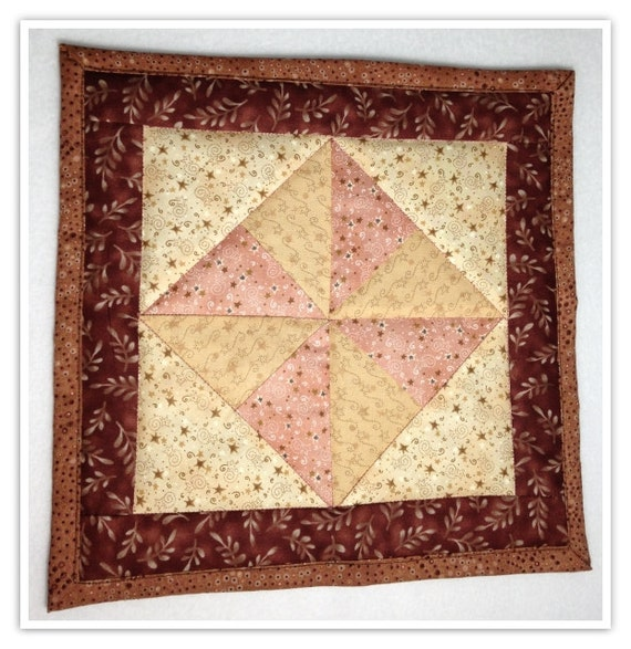 Quilted Mug Rug Quilted Coaster Brown And Peach Brown And