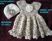crochet pattern for baby dress - Girl's Dress, Hat, Flower - baby, toddler, child, Newborn to 4 Yrs. - Ariana # 753, Christening dress
