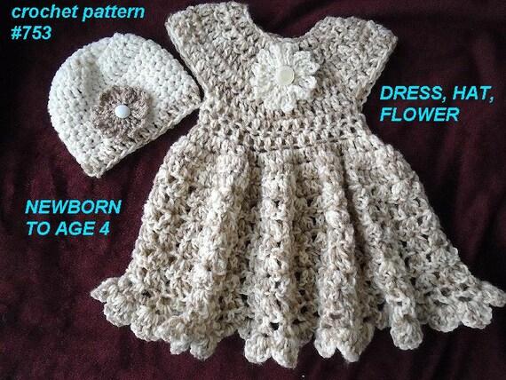Crochet Pattern For Flower Girl Dress : crochet pattern for baby dress Girls Dress Hat by Hectanooga