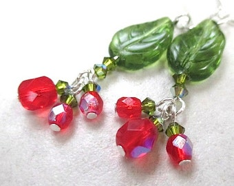Christmas Jewelry. Holiday Earrings. Green Leaves Red Beads Clusters. Silver Earrings. Holly & Ivy. December Winter Trend. Festive Statement