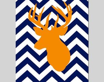 Chevron Deer Nursery Art Deer Nursery Decor Baby Boy Nursery - 11x14 Print - CHOOSE YOUR COLORS - Shown in Navy Blue and Orange