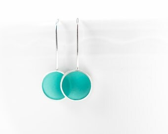 Don't Stop aqua/turquoise resin and sterling silver earring- winter gift