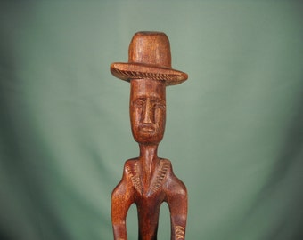 AFRICAN STATUE of MALE with Drum, African Male with Drum Carving from Kenya, Wood Carving of African Drummer, Male African Dummer Carving