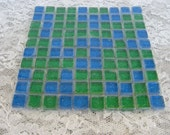 Beautiful Peacock Green and Blue Glitter Glass Tiles Green Glitter Glass Tiles Glitter Green and Blue Tiles Set of 100