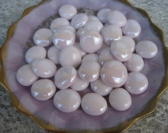 Clearance..Bogo...Buy One Get One FREE....Soft Pearl Pink Glass Gems...Iridized Pink mix Mosaic Glass Gems Bogo Sale