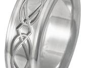 Irish Celtic Titanium Platinum Wedding Band - Infinity Ring - ck22