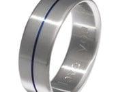 Blue Titanium Wedding Band - Thin Blue Line - Blue Ring - b34