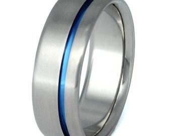 Blue Titanium Ring - Thin Blue Line - Titanium Band One Carved Blue Line - b2
