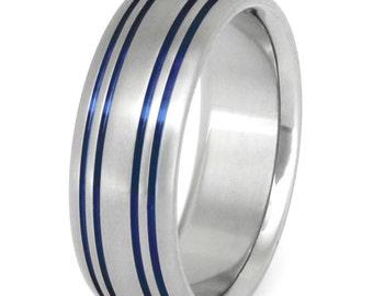 Thin Blue Line Titanium Wedding Band - Stiped Blue Ring - b15