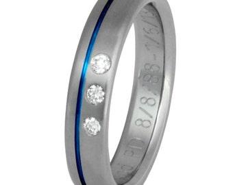 Thin Blue Line Titanium Diamond Wedding Band - Law Enforcement Ring - s34