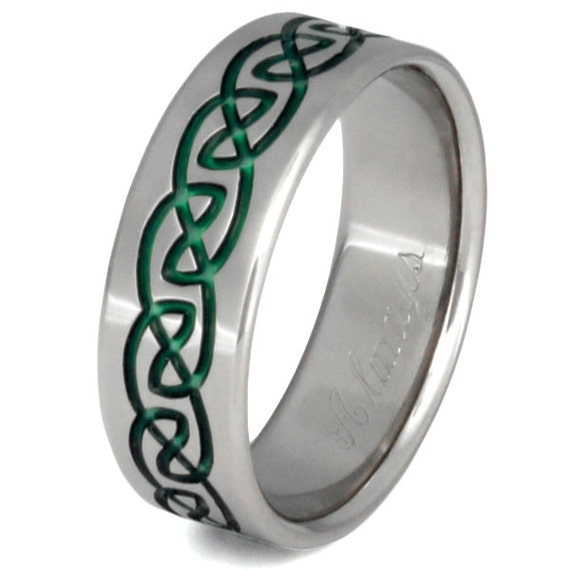 Celtic Titanium Wedding Band - Green Ring - Infinity Design - ck32