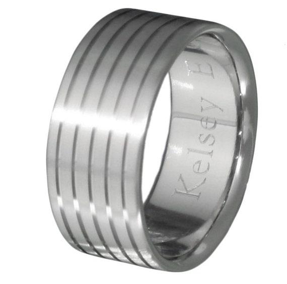 Titanium Wedding Band - Striped Custom Ring - n37