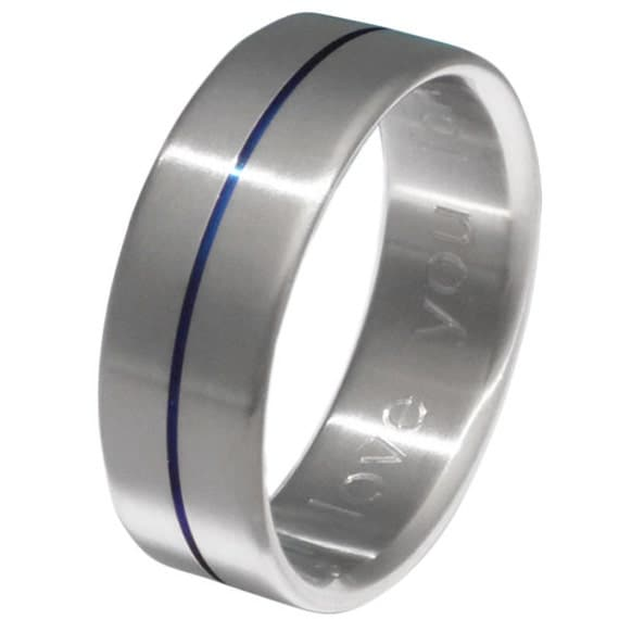 Blue Titanium Wedding Band Thin Blue Line Blue Ring b34