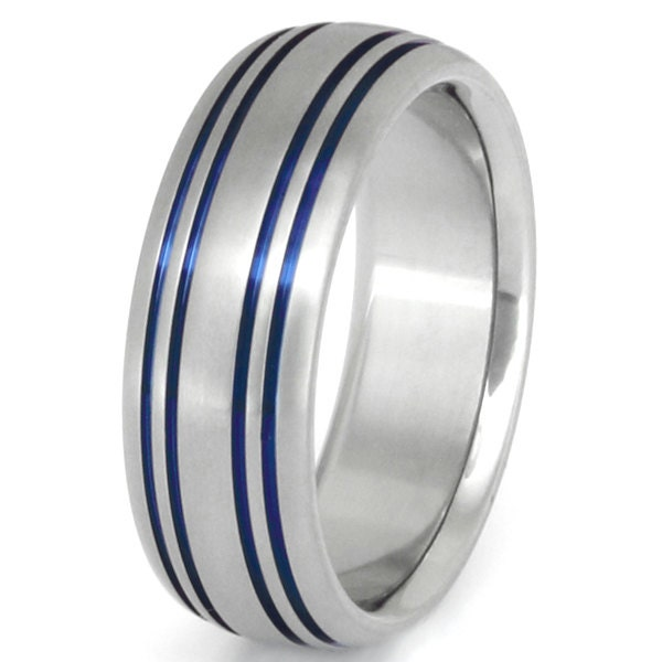 Thin Blue Line Titanium Wedding Band Stiped Blue Ring b15