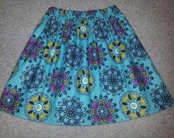 Girls Teal Medallion Skirt ANY Size 18m 24m 2T 3T 4 5 6 7 8 9 10