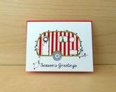 Candy Cane Christmas Camper - Retro Christmas Card - set of 8