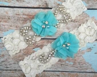 Turquoise Wedding garter / Lace garter SET / bridal  garter / vintage lace garter / chiffon flower / toss garter / wedding garter