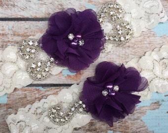 Plum Wedding garter / Lace garter SET / bridal  garter / vintage lace garter / chiffon flower / toss garter / wedding garter