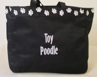 Toy Poodle Tote Bag, Carrier, Personalized, Embroidered