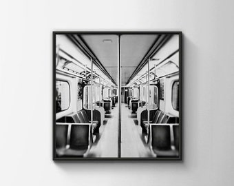 BUY 2 GET 1 FREE Toronto Photography, Subway Station, Bay Station, City Photo, Office Decor, Black White Photo, Subway Car - Take a Seat