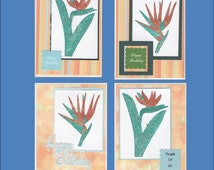 Handmade Bird of Paradise Iris Fold Cards - 3 card varieties -- Free Ship in USA